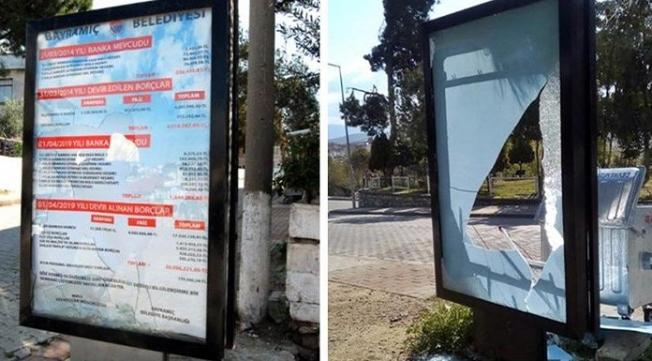 AKP'nin borçlarının ifşa edildiği billboardlar parçalandı