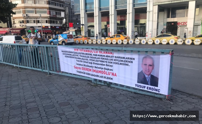 Vatandaştan İmamoğlu'na teşekkür pankartı