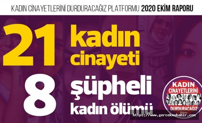 Ekim Ayında 21 Kadın Öldürüldü!
