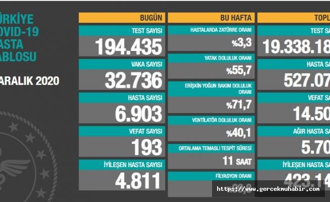 Türkiye'de koronavirüsten 193 kişi daha hayatını kaybetti