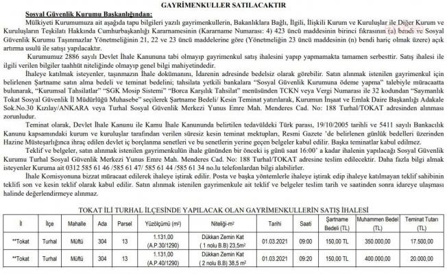 Bütçe açığıyla gündeme gelen SGK'dan 8,3 Milyon Liralık satış