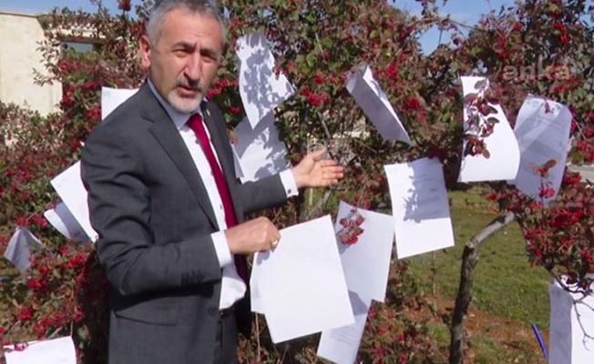 CHP'li Adıgüzel, yanıtlanmayan soru önergelerini TBMM'deki ağaca astı