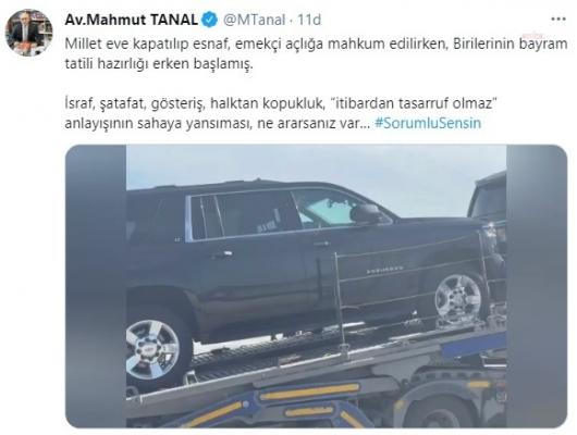 """CHP'li Tanal TIR'la taşınan koruma araçlarını paylaştı: """"Birilerinin bayram hazırlığı erken başlamış"""""""