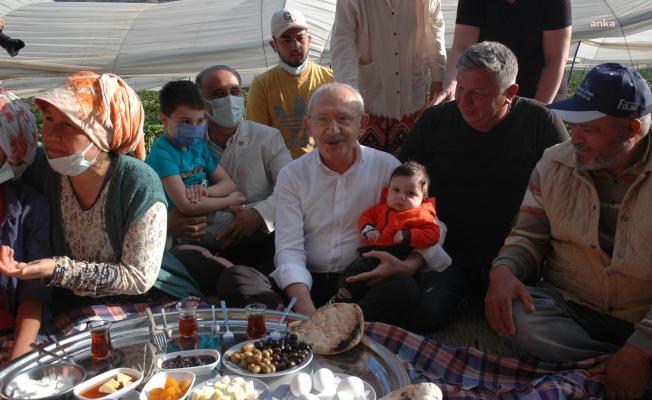Kılıçdaroğlu, Aydın'da Çilek Hasadına Katıldı, İşçilerle Yer Sofrasında Kahvaltı Yaptı