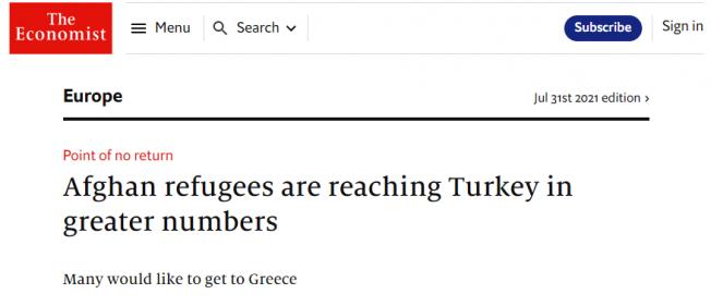 """The Economist: """"Daha çok sayıda Afgan göçmen Türkiye'ye ulaşıyor"""""""