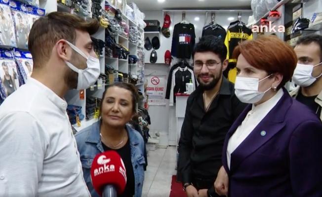 """Akşener'den esnafa: """"Bu ülkenin önünü tıkamayacağım, senin gibileri de hayal kırıklığına uğratmayacağım"""""""