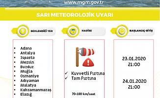Meteorolojiden 'sarı kod'lu fırtına uyarısı!