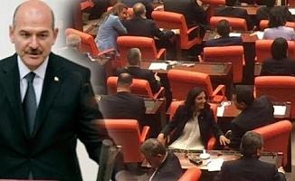 HDP TBMM'de konuşma yapan Bakan Soylu'yu protesto etti