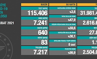 Türkiye'de koronavirüsten 83 kişi daha hayatını kaybetti