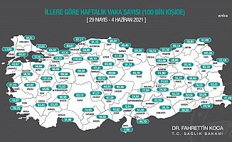 Bakan Koca, yeni vaka haritasını paylaştı: İstanbul, Ankara ve İzmir'de düşüş var
